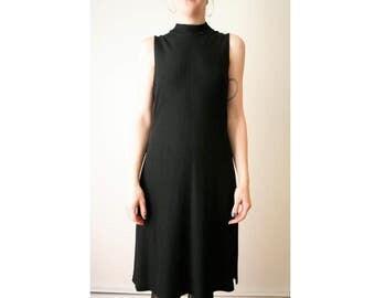 90s Sleeveless Black Mock Turtleneck Slit Dress