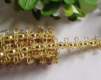 Metallic Double Loop Braid, 13/16 inch wide gold color price for 1 yard