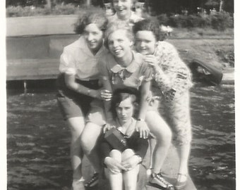 "Vintage Snapshot ""Serious Sue"" Girl's Camp Boat Dock Summer Camp Lake Teenage Girls 1930's Found Photo"