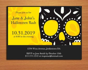 Yellow Sugar Skull / Day of the Dead Halloween Party Customized Printable Invitations /  DIY