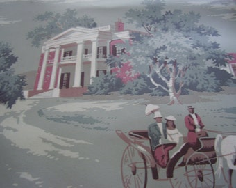 Vintage Wallpaper Colonial Toile 1940s Romantic Craft Supply Scenic Yardage Available Farmhouse Cottage Chic