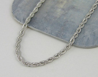 Men's Steel Chain Necklace, 4mm Rope Chain, Steel Rope Chain Jewelry Accessory for Him 22 24 26 28 Inch