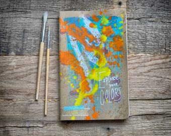Custom Notebook  |  Moleskine  |  Handpainted  |  Kraft Brown  |  Blank Inside  |  Journal  |  Sketchbook