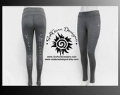 THE CUT 2 - Junior / Women Non-See Through Wide Waist Band Grey Leggings Cut and Weaved Leggings, Yoga, Festival, and Aerial Wear