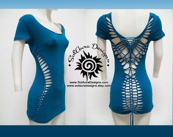 SEXY MAMA - Juniors / Womens Cut and Weaved Teal Top, Yoga Wear, Beach Wear, Club Wear, Festival Wear, Burning Man Wear - T-4007