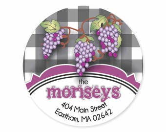 Grapes Personalized Address Labels Stickers / Gingham & Grapes