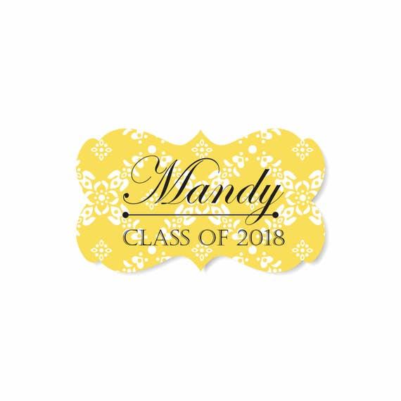 Graduation Labels - Scroll Frame Yellow Lattice - Fancy Scroll Labels - Wedding Stickers