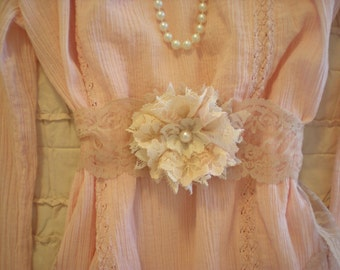 Romantic Vintage Chic Shades Of Pink Flower Girl Wedding Sash Belt OOAK From SincerelyRaven on Etsy