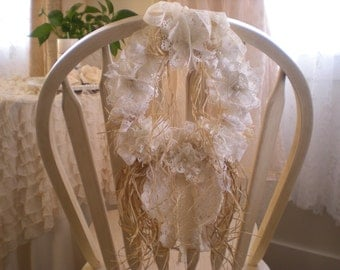 Romantic Chic Shades Of Creamy White & Ivory Vintage Lace Chair Swag Wreath OOAK By SincerelyRaven On Etsy