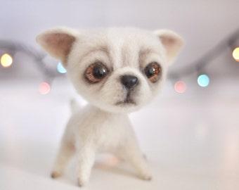 Needle felting - Felt doll - Toy - Felt toys - Needle felted animal - Chihuahua - Felted dog - Personalised gifts - Gift for her - for men