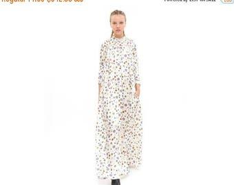 White Maxi Dress, Print dress, long Sleeve Dress, Winter Fashion, Oversized - Loose - Trendy, Elegant and Chic