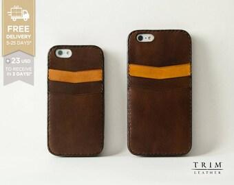iPhone 6s Leather Case, iPhone 6s Plus Case, iPhone 6 Case, iPhone 6 Plus Card Case Bumper Cover [Handmade] [Custom Colours]
