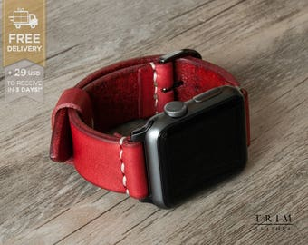 Apple Watch Band 38mm 42mm Leather Watch Band Leather Watch Strap Minimal Series 1 and 2 Lava Cherry Red [Handmade] [Custom Colors]