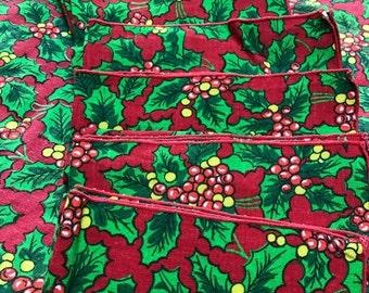 "Big Sale Vintage Holiday Tablecloth and Napkins, 96"" x 60"""