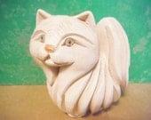 Vintage mod kitty cat kitten pottery persian white modern mid century figurine sculpture
