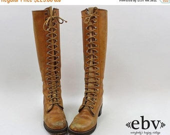 Vintage 70s Frye Boots size 5.5 Lace up Boots Brown Leather Lace Up Hippie Boho Campus Riding Knee Boots Brown Leather Boots 70s Boots