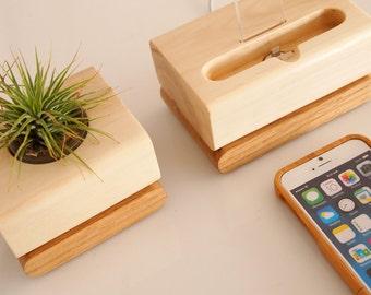 iPhone dock plus plant holder - unique  design - unique present - air plant pot - iPhone 7 / 7 plus compatible