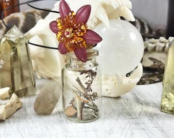 Nature Specimen Necklace, natural history, specimen, curiosity, oddity, animal bone necklace, dried flower necklace, long layering necklace