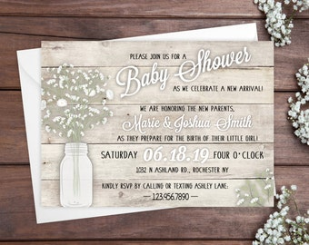 Baby Shower Invitations - Rustic Floral Baby Shower Invitations - Printed Invitation Cards - Personalized Baby Shower Invitations
