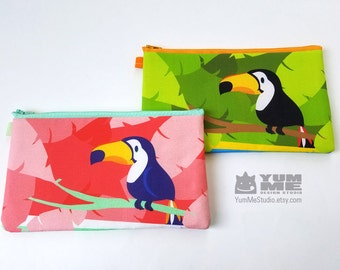 Toucan Zipper Bag Pouch Pencil Case Makeup Bag Wallet Pick One (Made to Order)