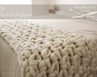 Crochet PATTERN: The Hygge Blanket one size throw blanket extreme crochet