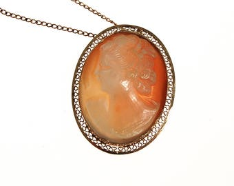 Carved Shell Cameo Pendant Necklace, Oval Shape, Gold Filled, Filigree