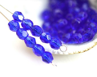 4mm Cobalt Blue Fire polished czech glass beads, Blue round spacer beads - 50Pc - 1186