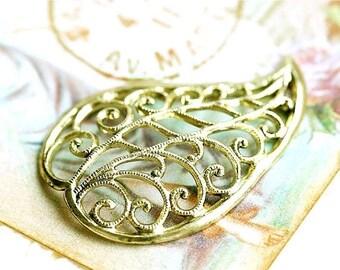 30%OFF SALE Filigree Leaf charm, Antique gold brass charm, leaf pendant, golden leaf charm, 35mm - 1Pc - F084