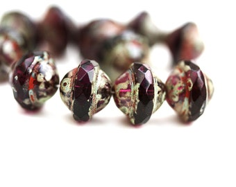 Dark Purple Saucer beads, UFO shape, Picasso finish Czech glass fire polished 8x10mm saturn beads - 10Pc - 0685
