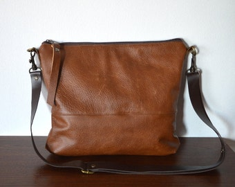 Leather Crossbody Bag, Genuine Leather Shoulder Purse, Brown Crossbody Bag Purse