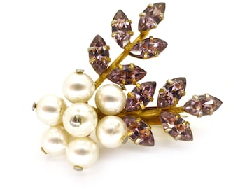Vintage Faux Pearl Purple Rhinestone Floral Brooch
