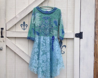 Lace dress M, teal green lace dress floral dress, bohemian lace gypsy dress
