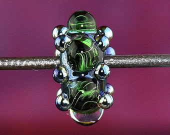 Black and Green Storm Handmade Lampworked Glass Bead OOAK Black Green Silver Blue Rondelle Big Hole Bead Lampwork