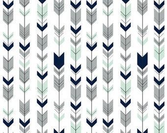 Fletching Arrow Crib Skirt- Northern Nights, gray, mint, navy