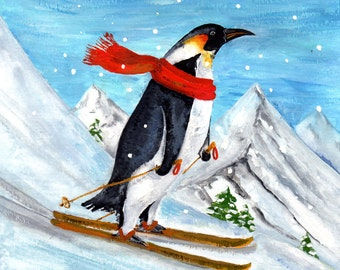 Penguin Alpine Skiing - Art Print of Gouache Painting 8x10 christmas new year winter holidays downhill snow cold ski mountains scarf emperor