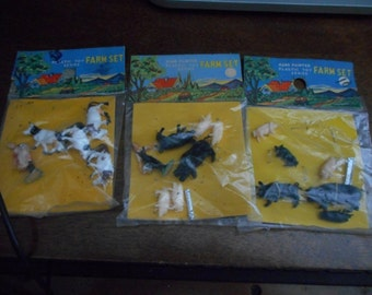Vintage Hand Painted Plastic Toy Farm Set Series set of 3