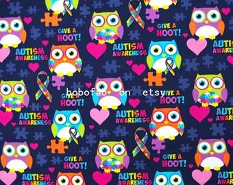 """2340  - 1 yard Cotton fabric - Owls, heart, bow on Deep Blue (140cmx91.44cm,55""""x36"""")"""