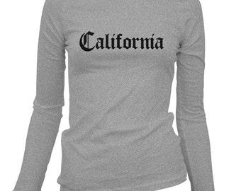 Women's California Gothic Long Sleeve Tee - S M L XL 2x - Ladies' T-shirt, Gift For Her, Girl, California Shirt, State Shirt, Californian