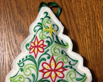 Embroidered Stuffed Felt Star and Christmas Tree Ornaments