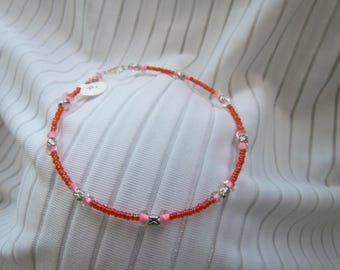 Rainbow Orange, Pink Crystal and Silver Anklet - Glass and Lead Free Pewter