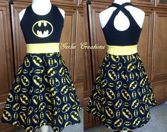 BATMAN Dress, BATGIRL Dress, Girls Dress, Girls Dress, Batman Black Yellow, Black Yellow, Marvel, Aurora Dress - Available in  2y - 12y