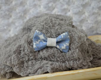 Hand Dyed Cheesecloth Wrap and Baby Boy Bow Tie Set...Photography Props...Baby Boy Photo Props...Blue and Gray...Little Man Bow Tie