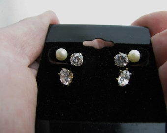 Vtg cubic zirconia and faux pearl post earrings 3 pairs