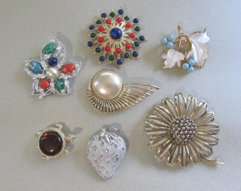 Sarah Coventry Pin Brooch Lot Sunflower Atomic Figural Turtle Vintage Costume Jewelry Lot Pins Brooches 1950's and Up Dealer Resell