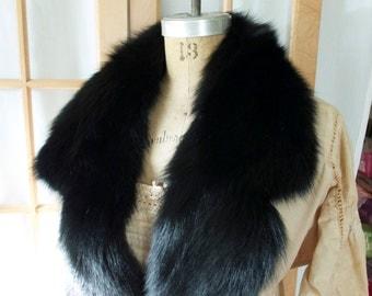 SALE Vintage Black Extra Long Fur Scarf or Trim Black Fur Coat Dress Trim Scarf Supply