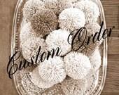 Custom Order for Sylvie - Pom Pom Garland Yarn Pink - Linen - Ivory -Dk. Chocolate Brown Yarn Pom Poms - Nursery