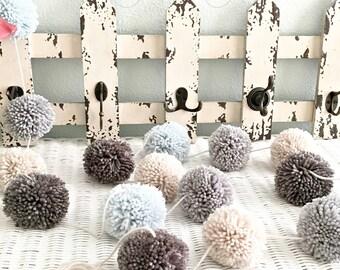 Pom Pom Yarn Garland Arctic Blue - Medium Gray - Dark Gray - Linen - Wall Decor - Nursery - Wedding - Party Decoration Yarn Pom Poms 8 Ft.