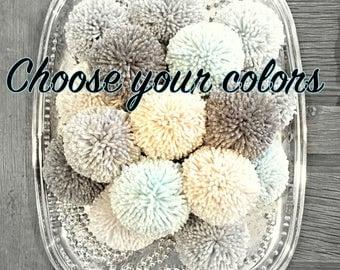 Pom Poms - Yarn - Craft Supply - Custom Colors - Party - DIY - Nursery - Wedding - Decoration - Photo Prop - Embellishment - Accent  (5)
