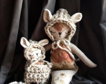 Mermaid Fox Mama and Baby Doll Set