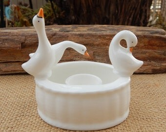 Bone China Geese Candle Holder  ~  Porcelain Geese Candle Holder  ~  3 Geese Taper Candle Holder  ~  Bone China Goose Candle Holder 1970's